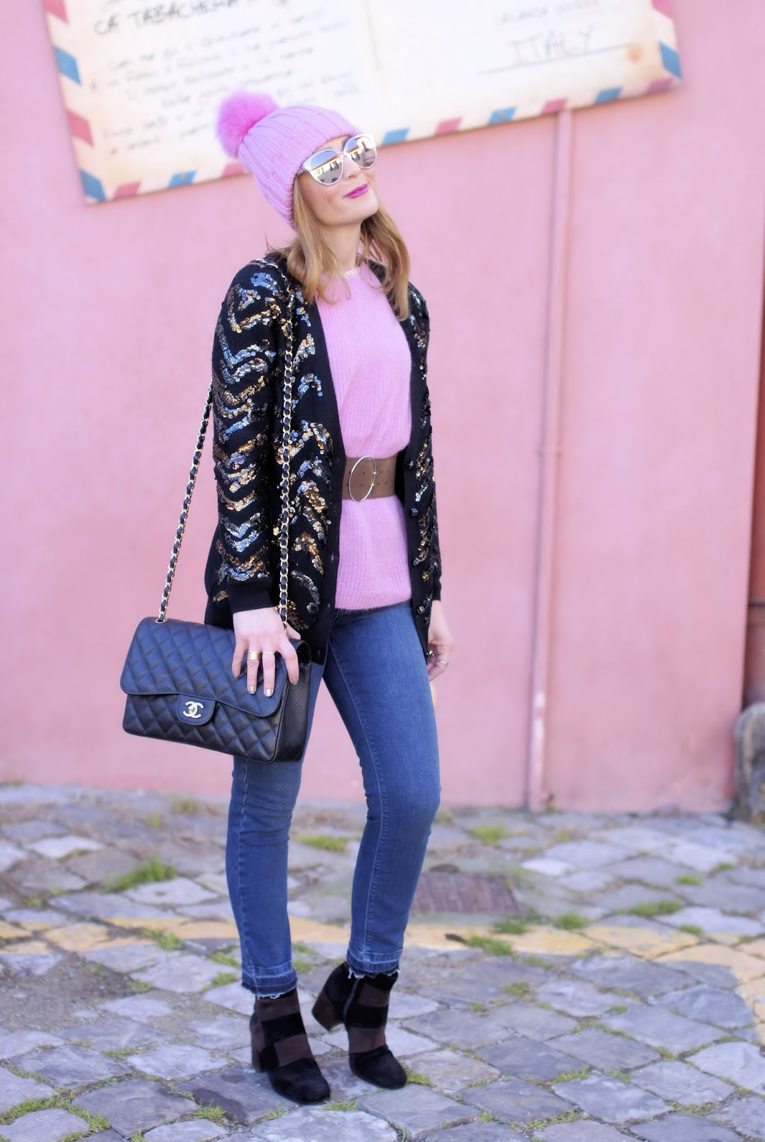 How to wear sequins in the daytime with Diorama2 sunglasses and Le Silla ankle boots on Fashion and Cookies fashion blog, fashion blogger style