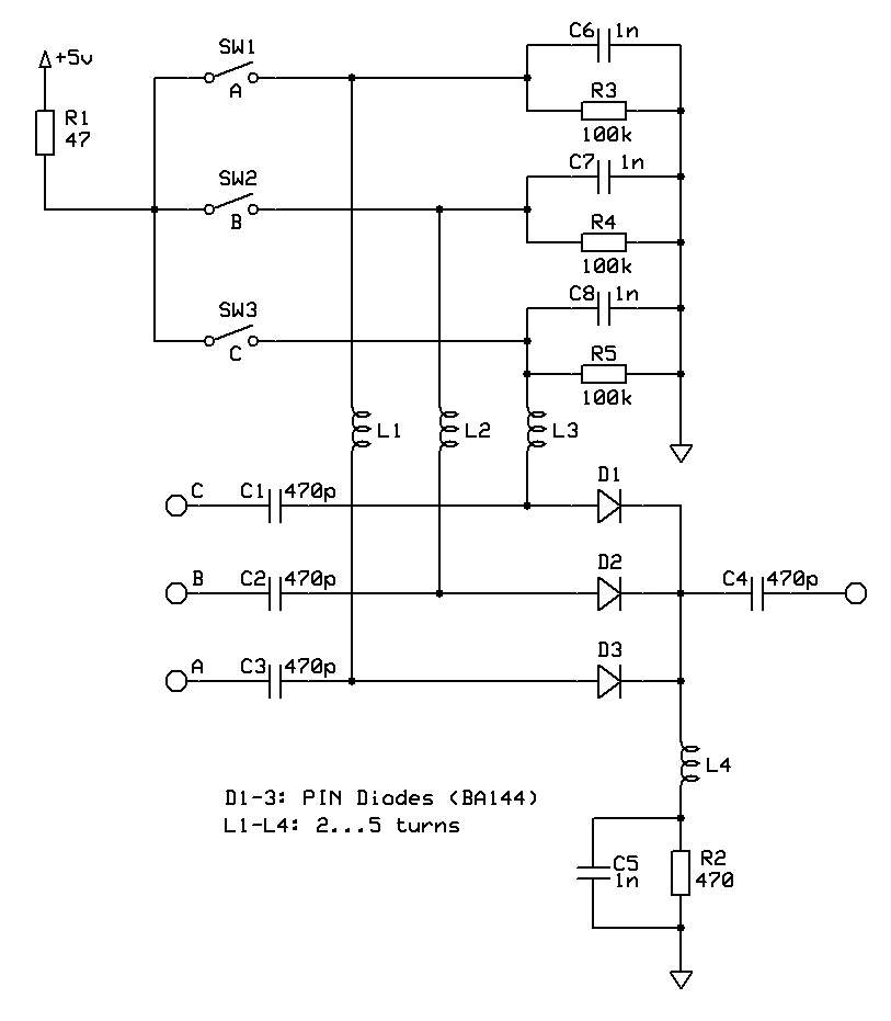 Antenna switch using PIN diodes (schematic)