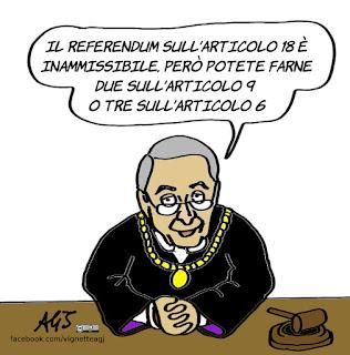 amato, consulta, articolo 18, referendum, cgil, vignetta, satira
