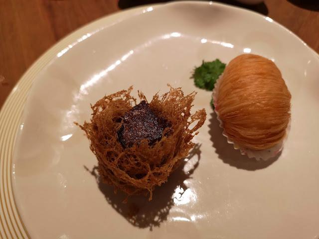 鹅肝荔茸带子、瑶柱萝卜酥