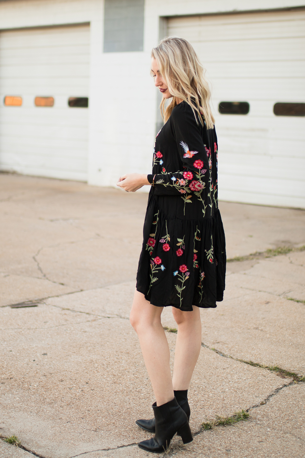 Fall boho dress with floral embroidery