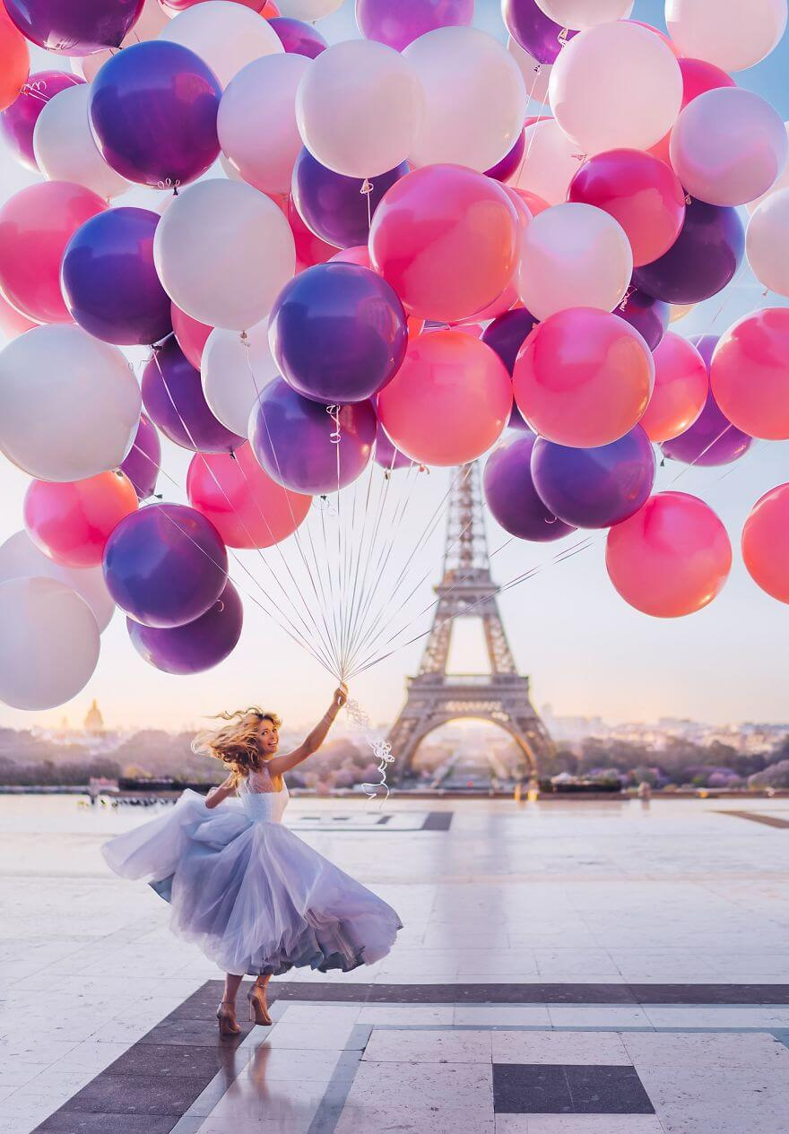 15 Pictures Of Girls In Dresses That Beautifully Match Their Backgrounds - Paris, France, Tour Eiffel. Model Vera Brezhneva