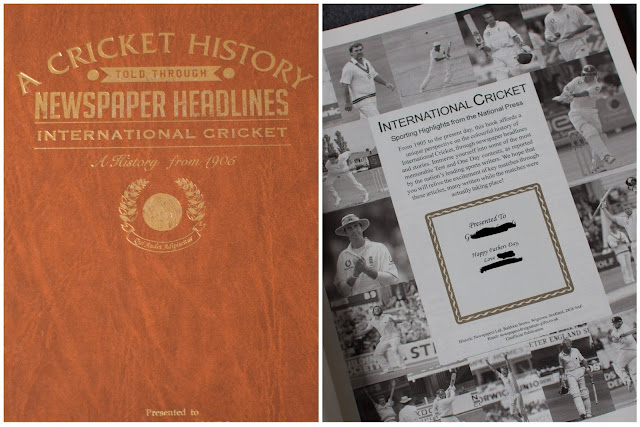 Split image showing the front cover of the cricket newspaper headline book and the title page with personalised message saying happy fathers day