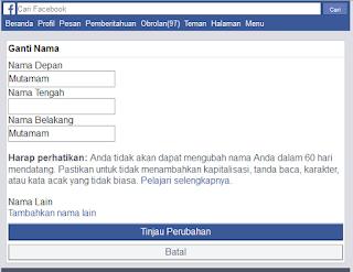 Mengganti Nama Facebook Lewat HP