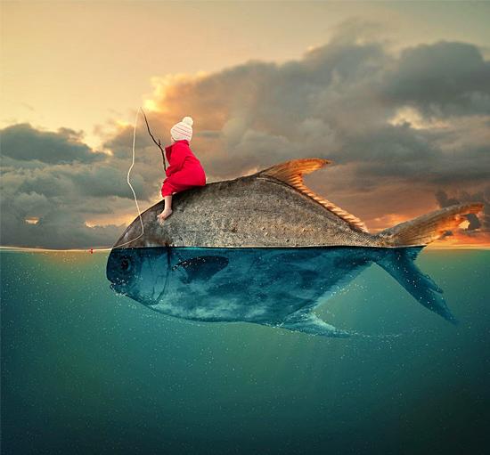 Imagens mais incrivelmente editadas - Cavalgando peixe
