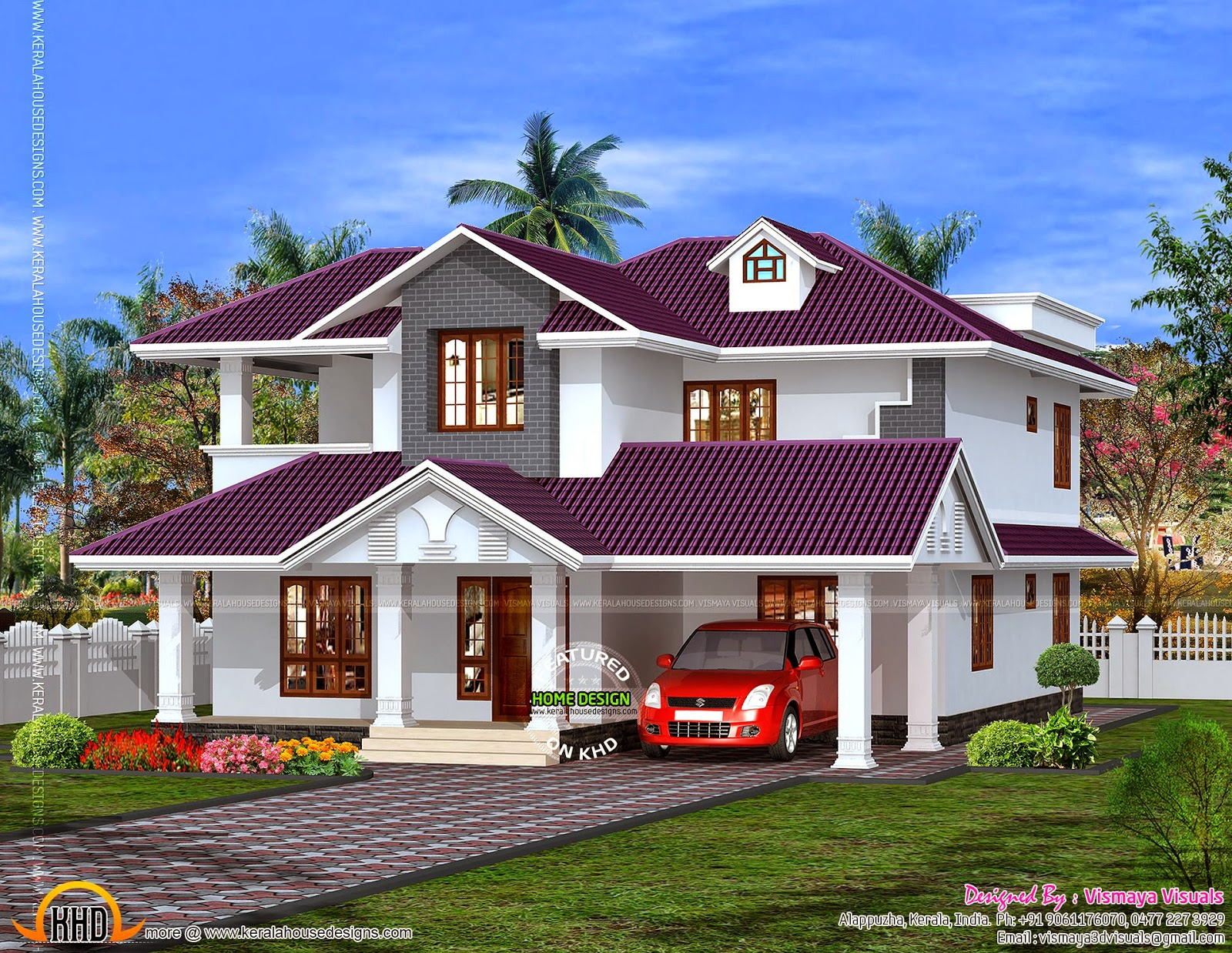 House Design In Purple Roof
