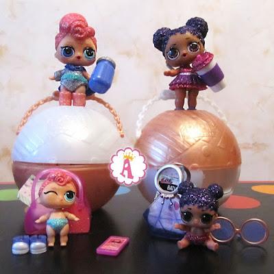 Две старшие и две младшие сестрички LOL Surprise из большого золотистого шара limited edition очень редкие игрушки MGA