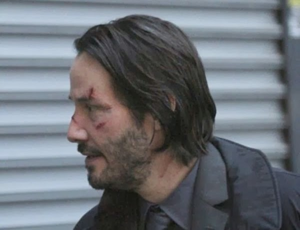 Keanu Reeves on the set