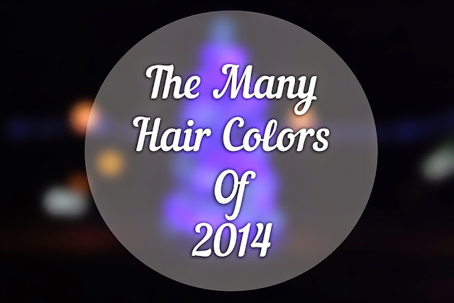 black bokeh background with a white circle with white text reading the many hair colors of 2014