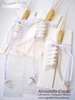 bomboniere comunione spiga segnalibro inciso personalizzato ciondolo angelo