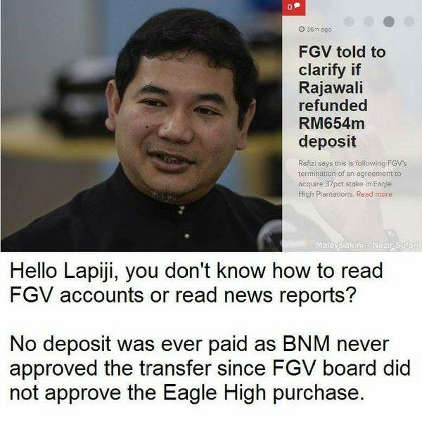 Kebodohan Rafizi Terserlah Lagi: FGV Tidak Jadi Beli Saham Eagle High Plantations - Mana Datangnya Transaksi