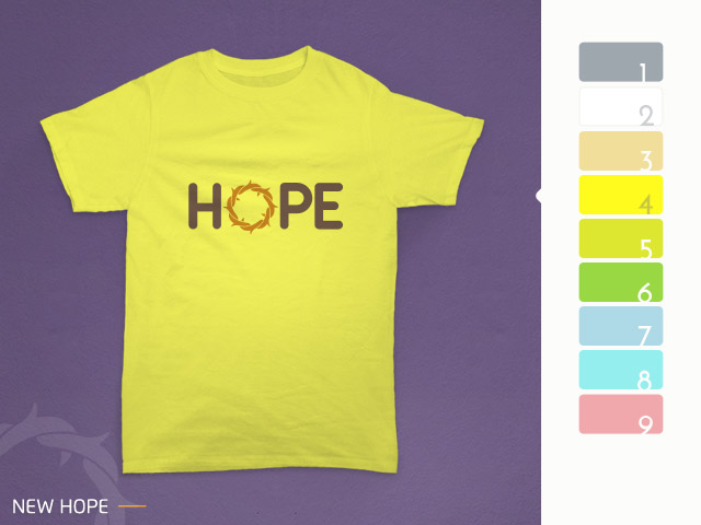 desain kaos hope diterapkan pada kain berwarna kuning