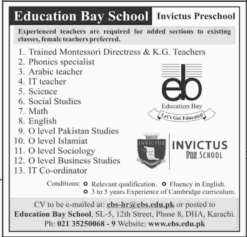 Jobs in Sindh, Jobs in Karachi, teacher jobs in Karachi, Education Jobs in Karachi