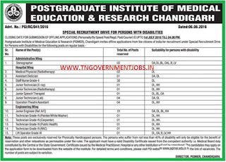 Post Graduate Institute of Medical Education and Research (PGIMER) Chandigarh Recruitments June 2016