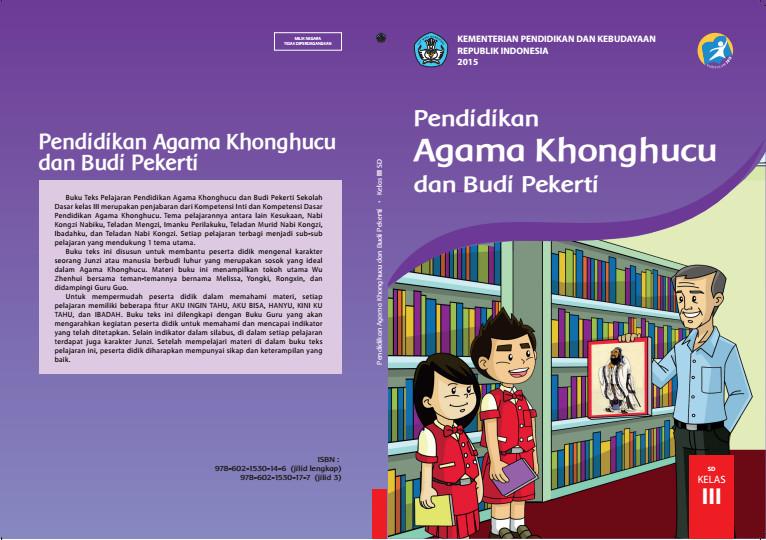 Download Gratis Buku Siswa Pendidikan Agama Khonghucu dan Budi Pekerti Kelas 3 SD Kurikulum 2013 Format PDF