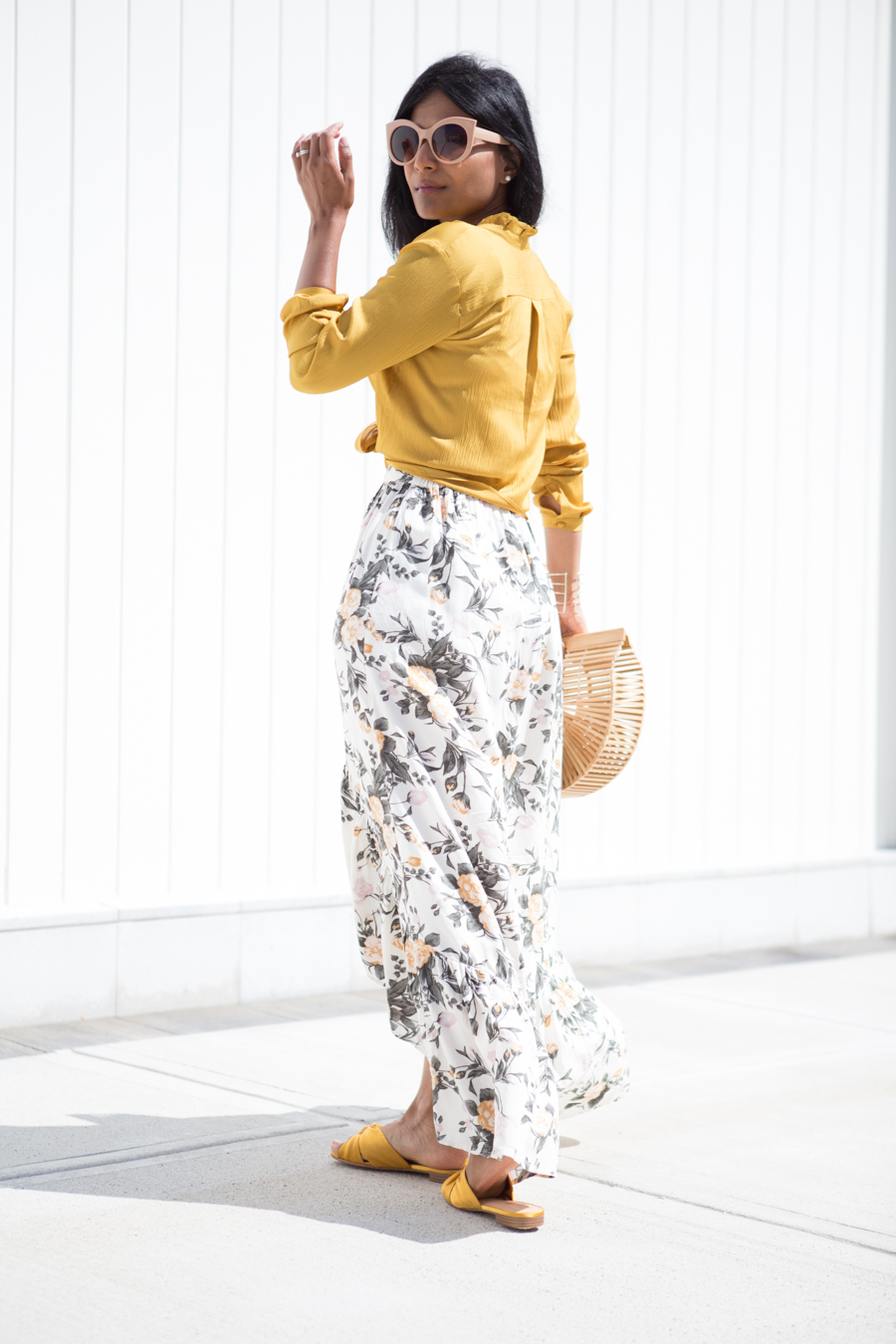 satin, gold, summer style, casual chic, work style, work to weekend, ann taylor, cult gaia, tiered skirt, ruffles, forever 21, petite fashion, summer outfit ideas