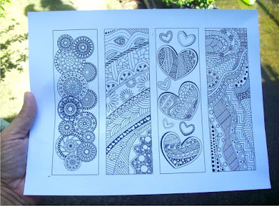 coloring bookmarks with abstract patterns