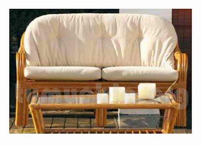 sofa 2 pazas hecho en rattan natural j224
