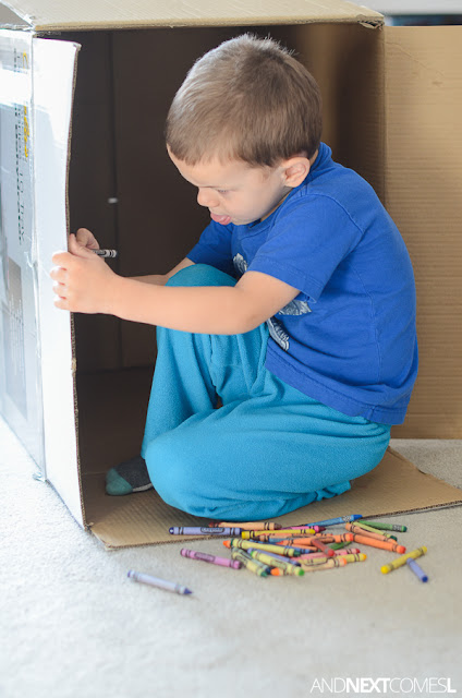 Drawing in a cardboard box - a perfect boredom buster process art idea for kids from And Next Comes L