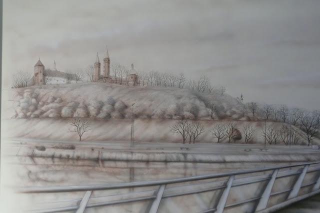 Malowanie obrazu na ścianie, panorama miasta Płock, mural 3D