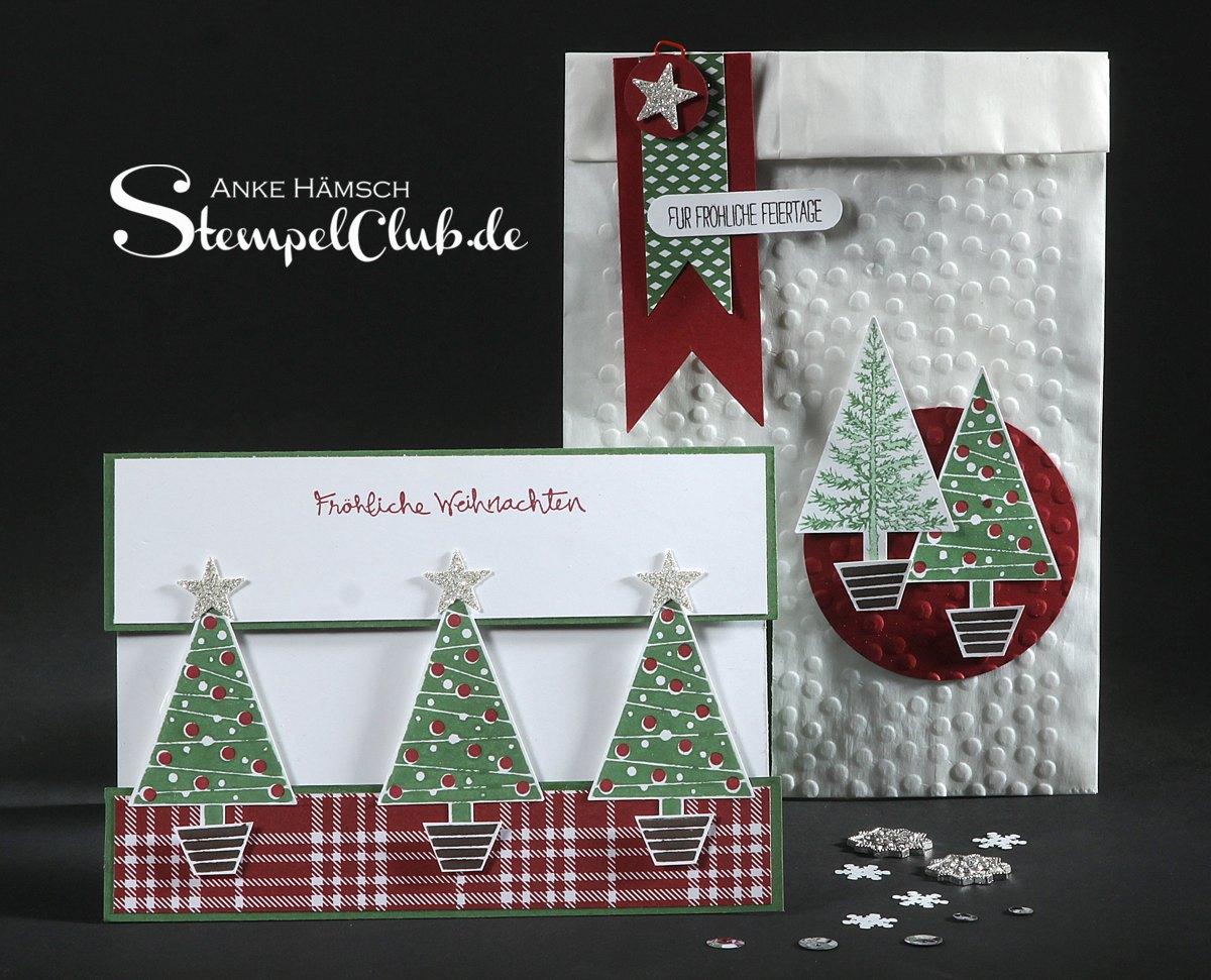 Weihnachtskarte Oh Tannenbaum mit geprägter Butterbrottüte