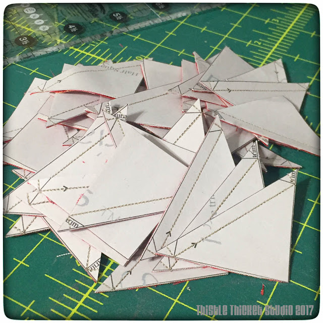 thistle thicket studio, paper piecing, half square triangle blocks, sewing, quilting