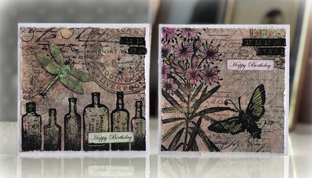 Tissue stamped cards using PaperArtsy Hot Picks - Nikki Acton