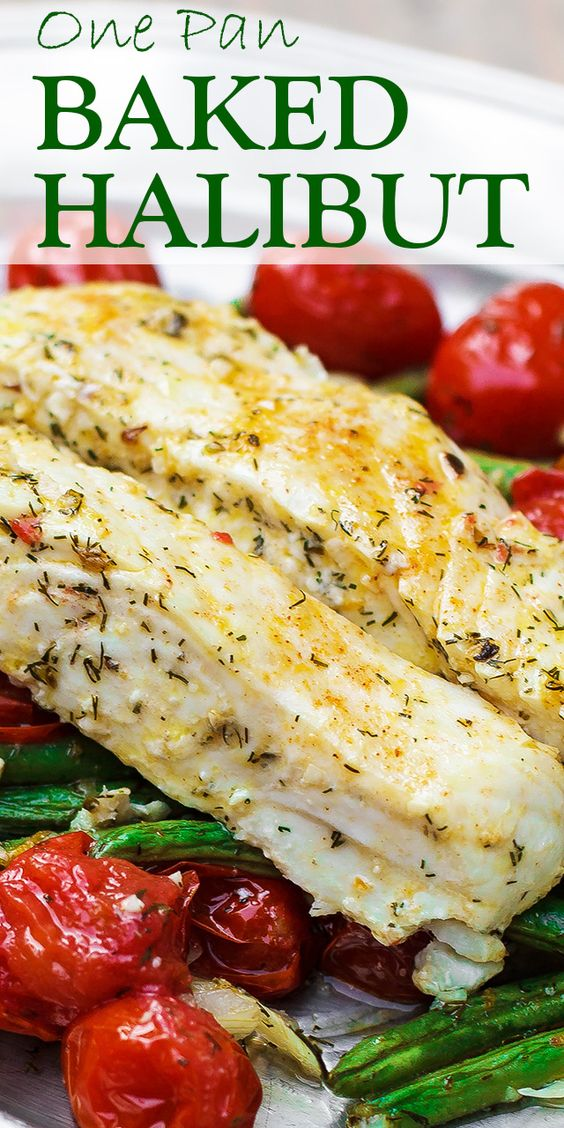 one pan mediterranean baked halibut recipe with vegetables