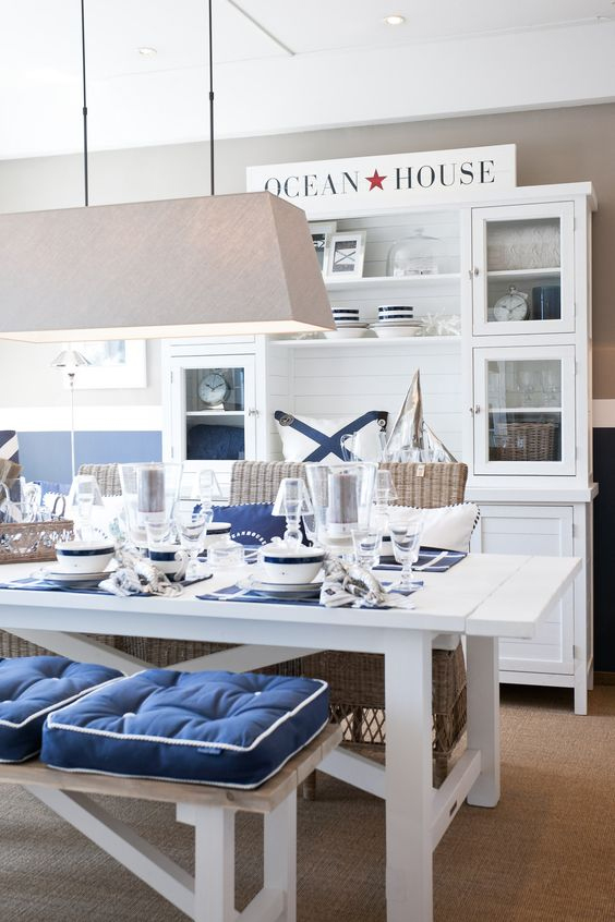 Nautical Dining Room - Blue and White - Hamptons, New England Style