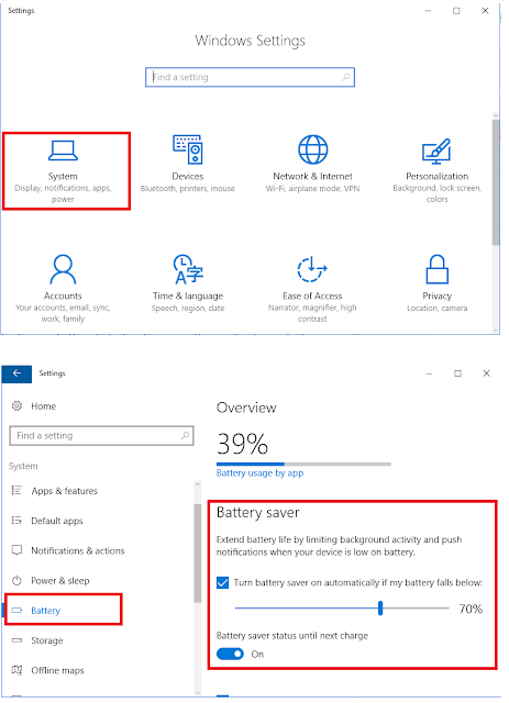 Turn on battery saver mode in Windows 10