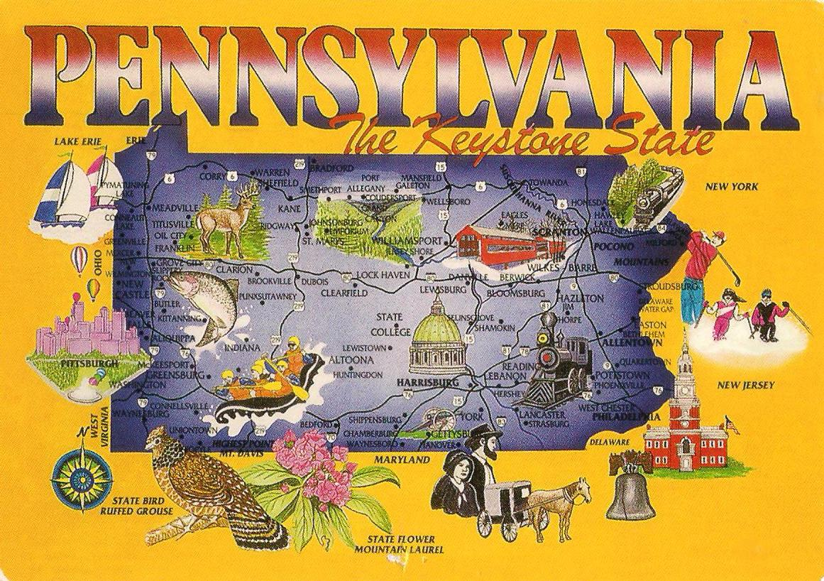 More POSTCARDS & STAMPS: USA - Map - Pennsylvania on mountain state map, sioux falls state map, dupont state map, louisville state map, pueblo state map, arlington state map, sunshine state map, jefferson state map, aurora state map, union state map, webster state map, keystone city, empire state map, florence state map, north washington state map, national state map, beehive state map, highlands ranch state map, fort morgan state map, great lakes state map,
