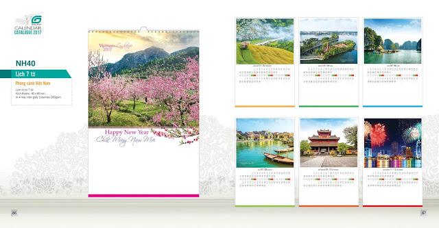 NH40 - Phong cảnh việt nam, Lịch treo tường 7 tờ, in lịch, mẫu lịch đẹp, lịch phong cảnh