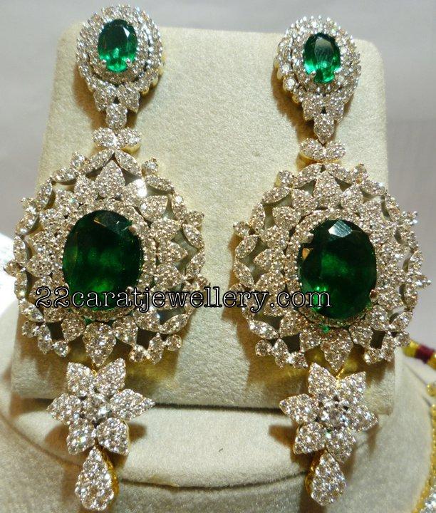 Diamond Heavy Earrings nd Necklace - Jewellery Designs