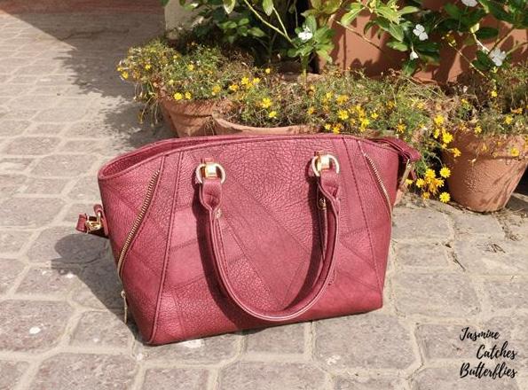 Rosegal Red Metal Zip Embellished Faux Leather Handbag