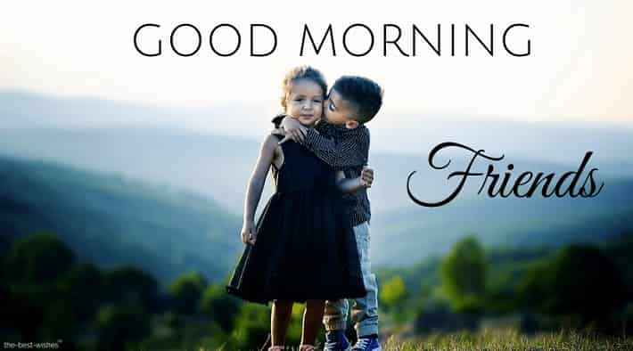 good morning cute kids kissing with beautiful scenery