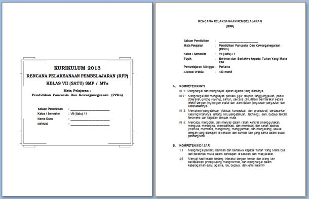 RPP dan Silabus SMP Kurikulum 2013 Format Microsoft Word