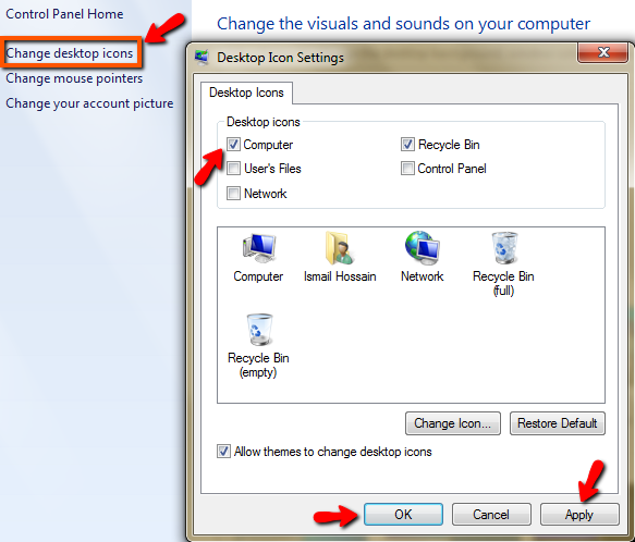Display My Computer Icon in Windows 7, 8, or Vista