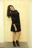 Mounika in a velvet short black dress for Tick Tack Movie Press Meet March 2017 098.JPG
