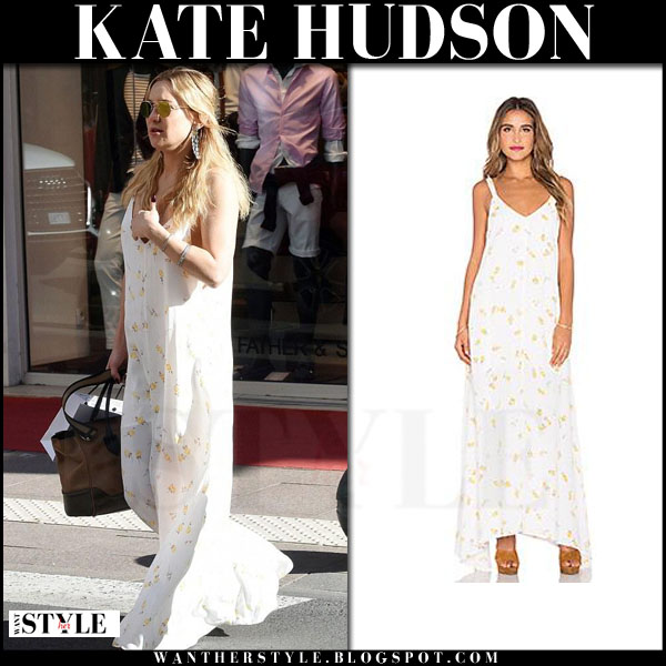 Kate Hudson in white floral print maxi dress flynn skye arrow what she wore boho summer style