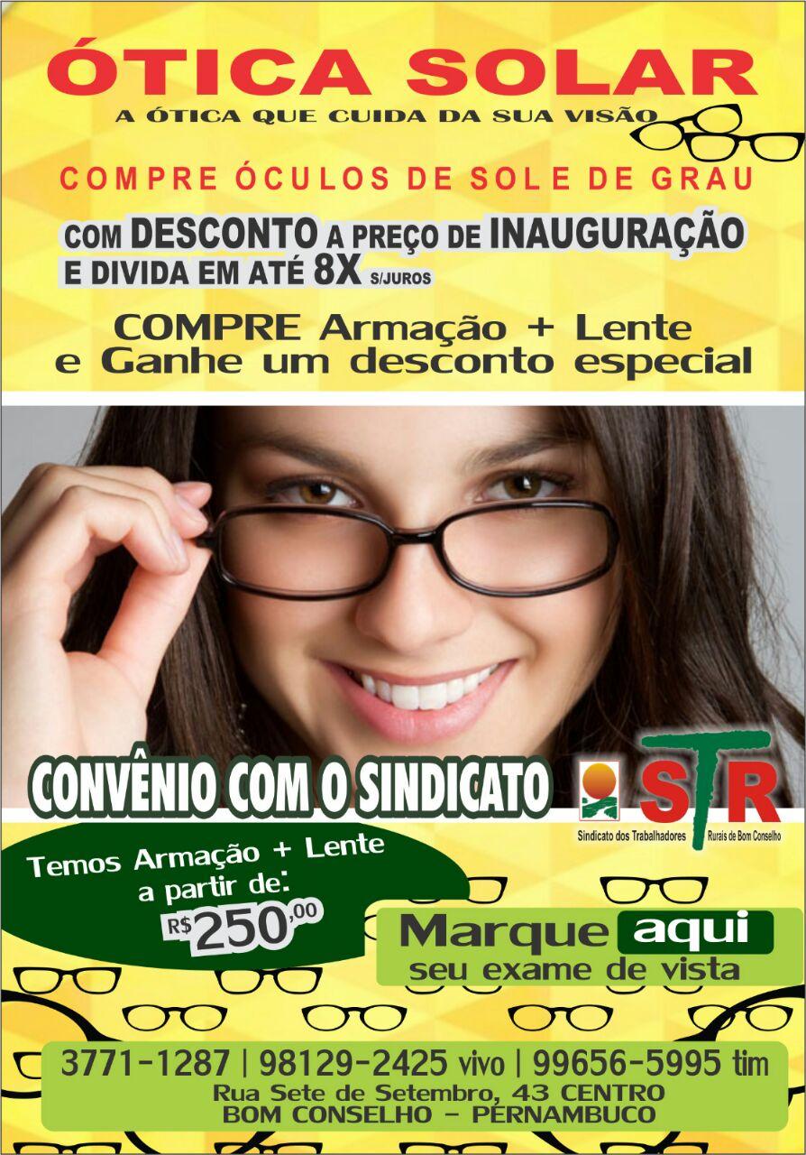 4d26e9814df4f Ótica Solar na Rua 7 de Setembro, vizinho ao Banco Santander, no centro de  Bom Conselho. Telefones  (87) 3771-1287, 9-8129-2425 e 9-9656-5995.
