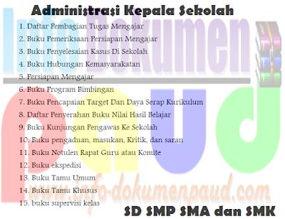 Kumpulan Format Administrasi kepala Sekolah SD SMP SMA dan SMK
