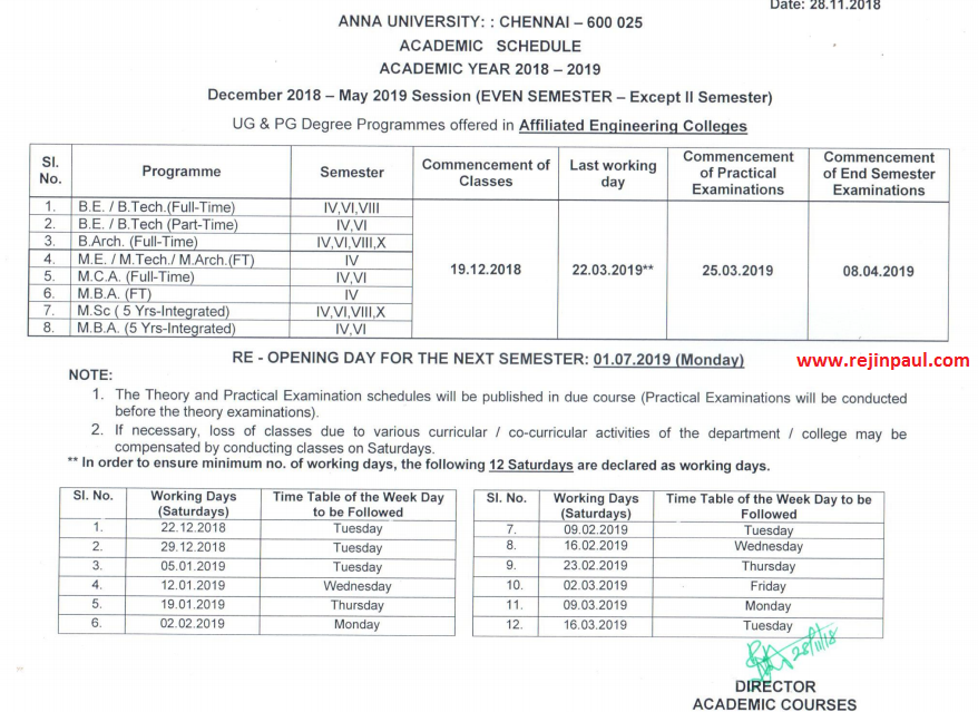 Anna University Academic Schedule 2019 2020 for 1st 3rd 5th