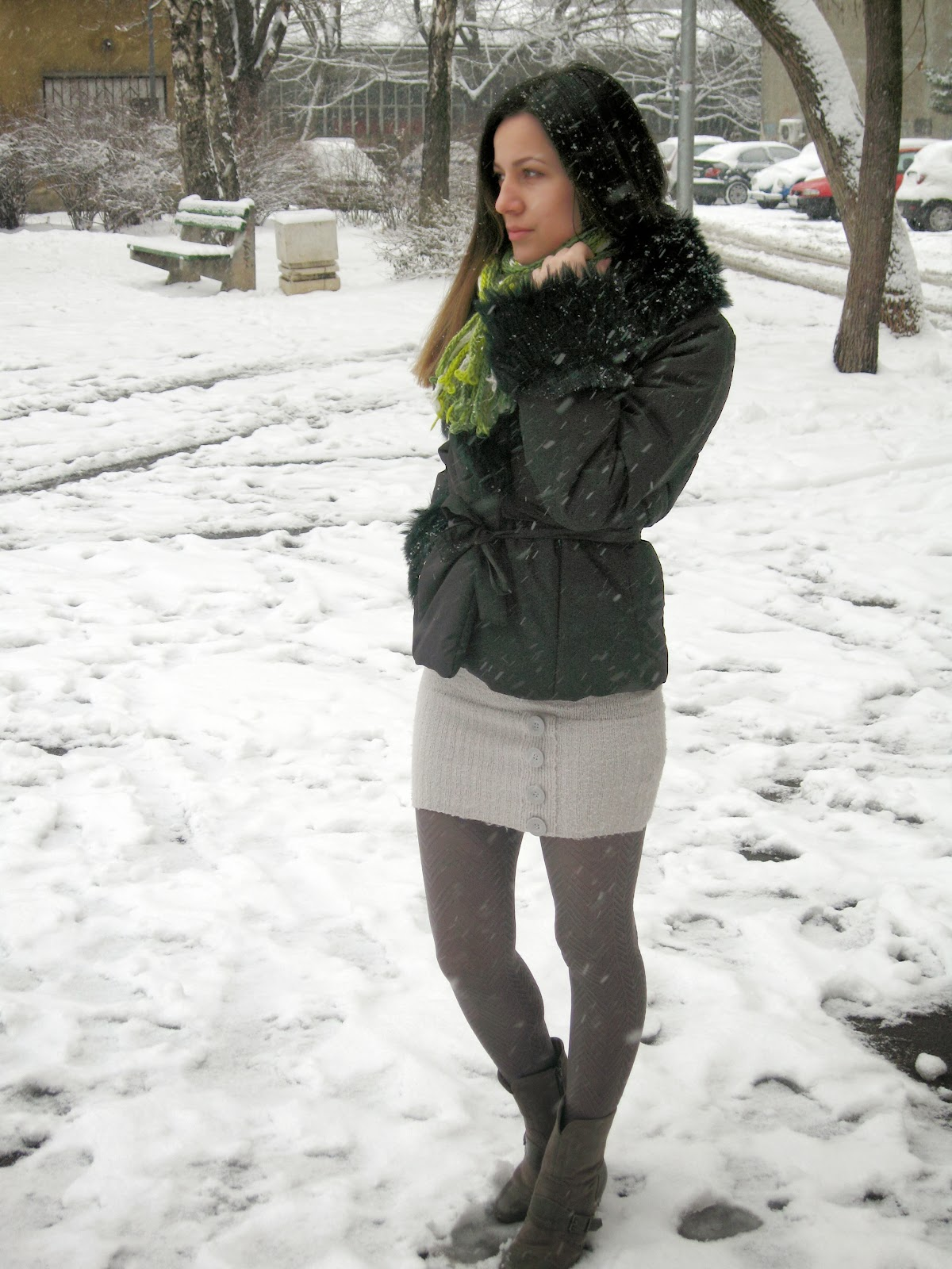 snowy winter outfit