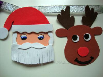 Papá noel y Reno en la guirnalda navideña de Goma eva