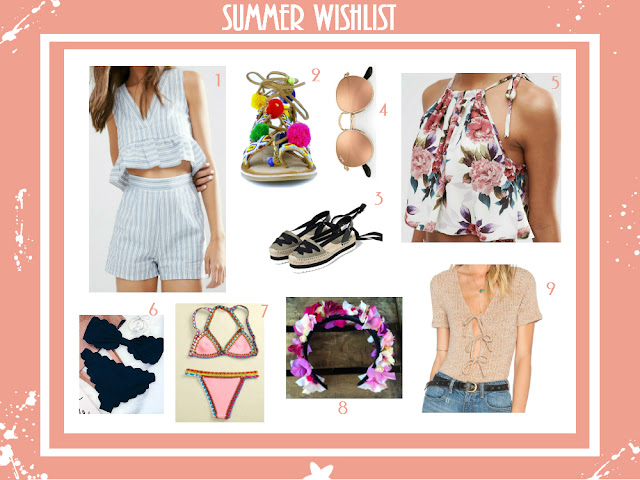 Summer, bikini, flower crown, two piece, bodysuit, sandals, espadrilles, tops