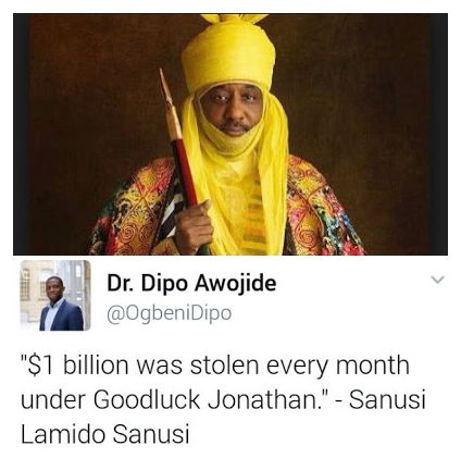 '$1Billion Was Stolen Every Month Under Goodluck Jonathan – Emir Sanusi
