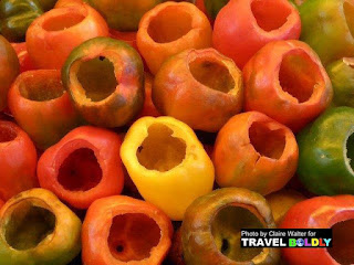 Peppers hollowed out for stuffing but with what?  Photo Claire Walter for TravelBoldly.com