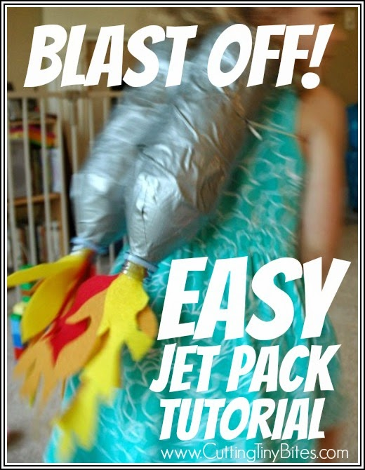 Fun Upcycle craft project for kids. Make a jet pack from plastic bottles! Great for an outer space preschool theme.