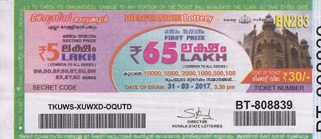 30 10.2015 | BHAGYANIDHI (BN-210) Lottery Result