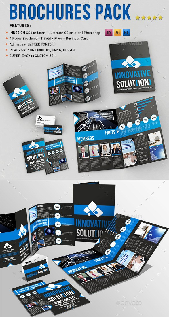 a4 and tri fold brochure templates pack with business card